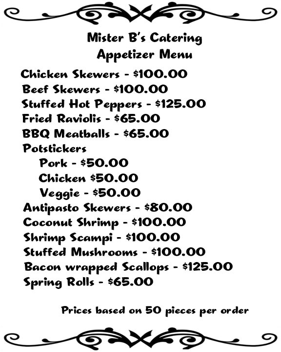 Bs Catering menu -newest